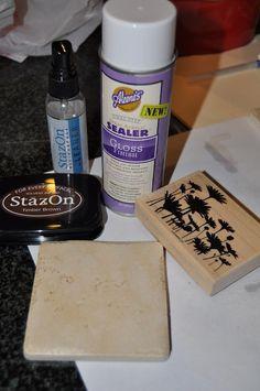 diy stamping tile coasters