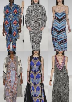Mara Hoffman A/W 2014/15-Graphic Checkerboard Prints – Moroccan Textile References – Engineered Star Prints – Bedouin Jewellery Patterns – Egyptian Camel Motifs – Complex  Ethnic Arrangements – Monochromatic and Optical