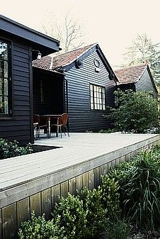 wooden houses, black house, wood decks, forest house