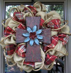 Burlap wreath with rustic cross Great Idea!