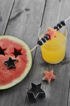 watermelon stars. cute idea to make kabobs with fruit!
