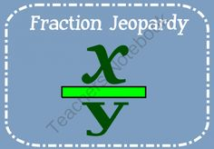 Fraction Jeopardy Review from Christina Stetson on TeachersNotebook.com -  (1 page)  - Fraction Jeopardy Review Game