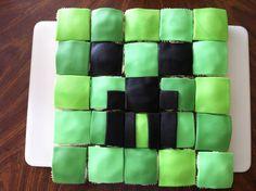 Creeper face square cupcakes