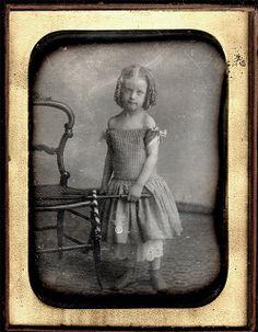 Girl with a Hoop - Half Plate Daguerreotype by Marcus Aurelius Root of Philadelphia