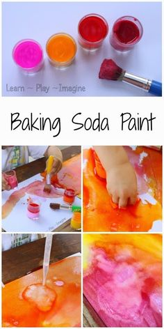 How to make baking soda paint that fizzes, creating beautiful color mixing reactions.
