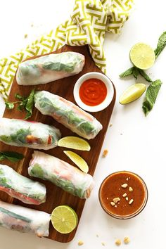Vietnamese vegan spring rolls with crispy almond tofu and almond butter dipping sauce