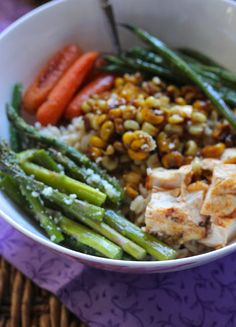 Brown Rice Bowl with Roasted Veggies & Chicken // gorgeous, healthy comfort, packed full of flavor via ValSoCal