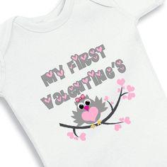 My First Valentines Baby Girl Owl Onesie by babyonesiesbynany, $13.75
