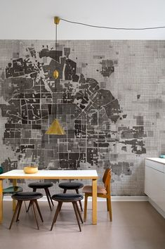 dining rooms, interior, wall deco, wall treatments, world maps, graphics, mural, kitchen, design