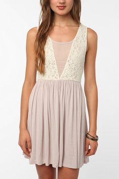 Pins and Needles Knit Lace Mix Dress  #UrbanOutfitters