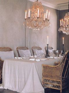 dining rooms, crystal chandeliers, wicker, dine room, tablecloth, chairs, wedding planning, honeymoon destinations, destination weddings