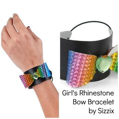 Rhinestone bow cuff bracelet - Scrapbook.com - Cut Buckle Boutique rhinestone sheets with a Sizzix die to create a shape to add to a leather cuff - DIY jewelry that your teen or tween would love!