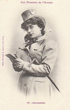 French postcard, 1902: Women of the Future: Journalist