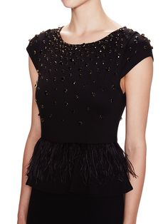 Luma Feather Embellished Peplum Dress from Mobile First Look: Alice + Olivia on Gilt