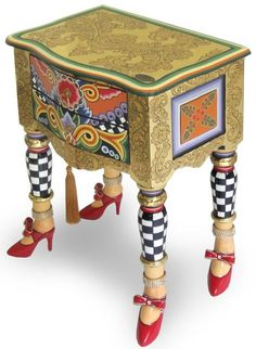 neat idea, leg, red shoes, paint furnitur, heel, side tabl, end tables, live color, painted ladies