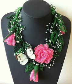 Exclusive beaded necklace with roses and by Gemsplusleather.