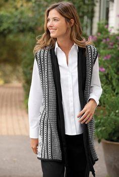 Drape-front Black-and-white Geometric Vest
