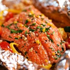 Wild salmon and couscous in foil packets. Enjoy this meal outside on a warm summer evening.