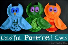 owl projects, color pattern, owl crafts, pattern owl, paper plate crafts, animal crafts, kid craft, owls, paper plates