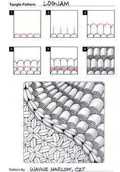 How to draw LOGJAM by Wayne Harlow, CZT « TanglePatterns.com