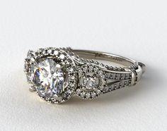 14K White Gold Three Stone Decorative Bridge Engagement Ring