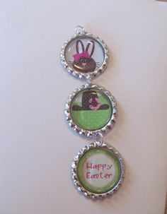 Easter Bunny Bottle Cap Ornaments  Brown or White by Doris2618, $3.00