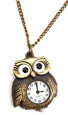 Vintage Copper Owl Shape Pocket Watch Necklace