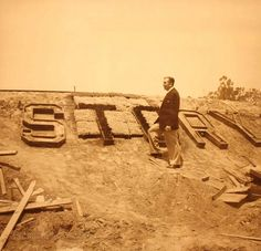 Walt standing in the making of Storybook land