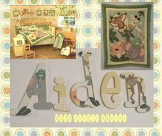 Jungle Babies Wooden Wall Letters/ jungle babies nojo crib bedding/ jungle babies nursery