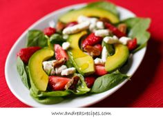 Strawberry Spinach Salad with Avocado and Champagne Vinaigrette