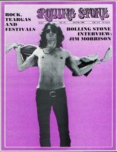 Jim Morrison on the cover of Rolling Stone, July 1969.