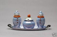 Art Deco Noritake Nippon Lustre Figural Condiment Salt Pepper Mustard on Tray | eBay