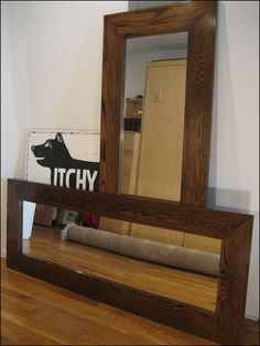 Simple 'back o' closet door' plus six inches of walnut on each side = awesome (and hopefully cheaper than usual large mirrors?)