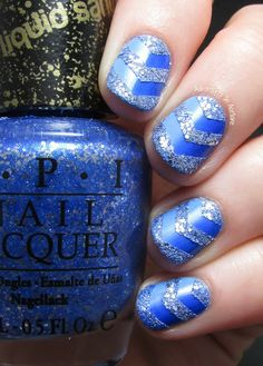 Adventures In Acetone: The Digit-al Dozen DOES Monochrome, Day 3: Blue Gradient and Textured Chevrons! #nails #nailart #blue #chevron