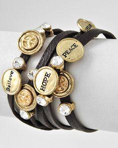 Gold tone Brown Faux Leather Clear Rhinestone Believe Hope Peace Wrap Bracelet $24
