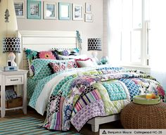 teen-bedroom-girls-idea-space-saver-design-decor-green-yellow-sea-color-colorful-flowery-quilt-bedding-wall-frame-hanging-ivory-headboard-side-table-design-rattan-pouf-pretty-inspiration.jpg (609×497)  Comforters, Pbteen, Teen Rooms, Girls Bedrooms, Rooms Ideas, Tropical Gardens, Pb Teen, Teen Girls, Girls Rooms