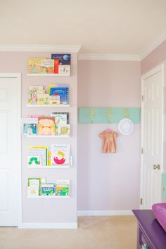 Nursery or Kids Room Library Wall - we love the idea of transforming a small wall into library wall full of books!