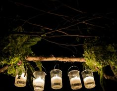 hanging mason jar candle display greenery wedding event party outdoor via beehive events
