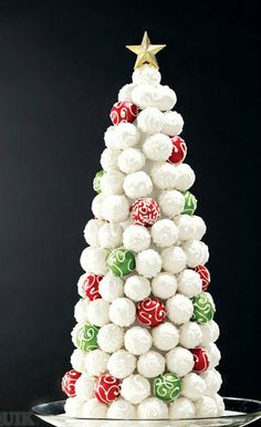 Adorable and eatable Christmas Tree!  Truffle Christmas tree makes a cute edible centerpiece