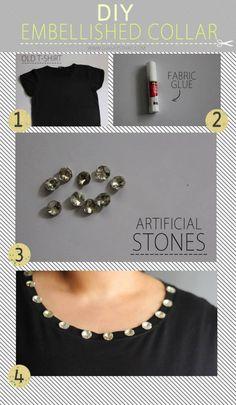 27 Most Popular DIY Fashion Ideas Ever, DIY QUICK EMBELLISHED COLLAR