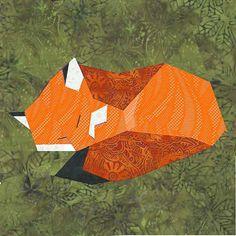 Fox paper pieced quilt block pattern PDF