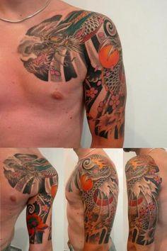 tatuaggio dragone, mezzamanica e petto, lug 2012