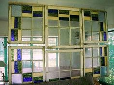 Dishfunctional Designs: Window of Opportunity: Old Salvaged Windows Get New Life As Unique Decor - old windows as room dividers