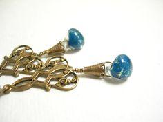 Monaco blue glass earrings lampwork dangle brass by pamelasjewelry, $22.00