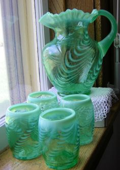 Fenton Green Opalescent Water Set Pitcher and glasses