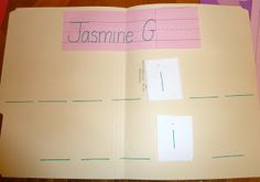name recognition puzzle file folder game. Great way for kids to practice spelling their names