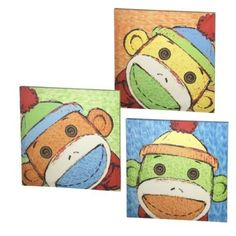sock monkey art tiles
