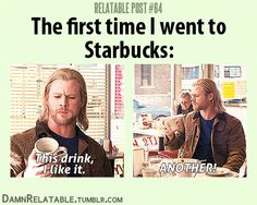 chris hemsworth, pumpkin spice latte, chocolates, starbuck, giggl, funni, coffee, thor humor, true stories