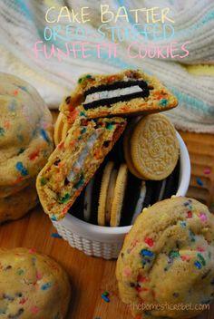 Cake Batter Oreo-Stuffed Funfetti Cookies!