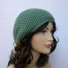 Sage Green Slouchy Crochet Hat Womens by ColorMyWorldCrochet